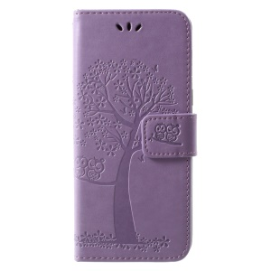 Imprint Tree and Owls Stand PU Leather Cell Phone Case for Samsung Galaxy A8 (2018) - Purple