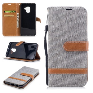 For Samsung Galaxy A8 (2018) Two-tone Jean Cloth Wallet Stand Leather Shell - Grey