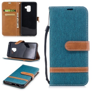For Samsung Galaxy A8 (2018) Bi-color Jean Cloth PU Leather Card Holder Mobile Casing - Green