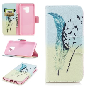 Pattern Printing Stand Leather Mobile Shell for Samsung Galaxy A8 (2018) - Feather Pattern