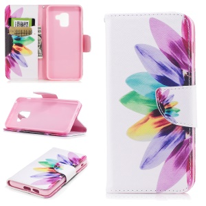 Pattern Printing Wallet Leather Case Protector for Samsung Galaxy A8 (2018) - Colorful Petals