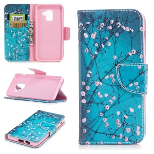 Pattern Printing Stand Leather Phone Accessory Case for Samsung Galaxy A8 (2018) - Pink Floret