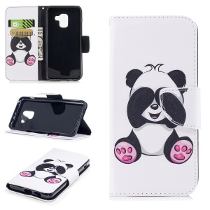 Pattern Printing Leather Wallet Stand Case for Samsung Galaxy A8 (2018) - Cute Panda