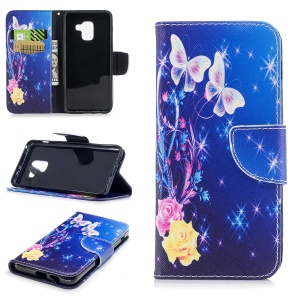 Pattern Printing Wallet Stand Leather Mobile Cover for Samsung Galaxy A8 (2018) - Pretty Butterfly and Star
