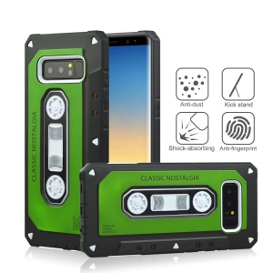 ANGIBABE Cassette Tape Shape PC + TPU Hybrid Back Casing for Samsung Galaxy Note 8 SM-N950 - Green
