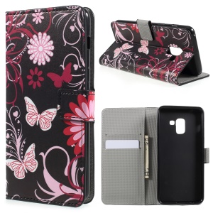 Pattern Printing PU Leather Magnetic Wallet Stand Protective Phone Shell for Samsung Galaxy A8 (2018) - Pink Flower and Butterfly