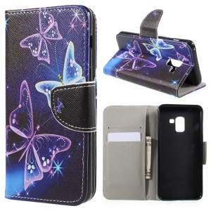 Pattern Printing Cross Texture Stand Wallet Leather Cover for Samsung Galaxy A8 (2018) - Crystal Butterfly