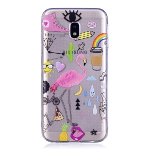 Motif Impression TPU Souple Gel Pour Samsung Galaxy J3 Pro (2017) / J3 (2017) Version EU - Flamant