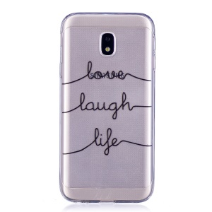 Pattern Printing Soft TPU Gel Casing Cover for Samsung Galaxy J3 Pro (2017) / J3 (2017) EU Version - English Characters