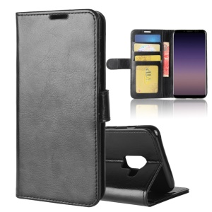 Crazy Horse Wallet Stand Leather Case for Samsung Galaxy A8 (2018) - Black