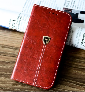 Pigeon Logo Auto-absorbed Leather Wallet Case Accessory for Samsung Galaxy A5 (2017) - Red