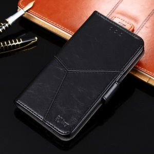 K'TRY Geometric Splicing Series Leather Wallet Case for Samsung Galaxy J3 Prime - Black