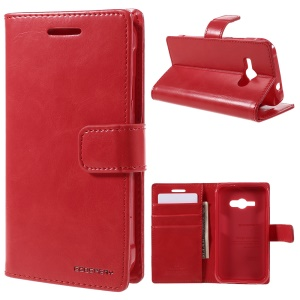 MERCURY GOOSPERY Blue Moon Leather Wallet Cover for Samsung Galaxy J1 Ace SM-J110 - Red