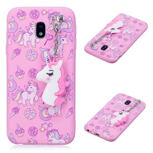 Unicorn Pattern Printing TPU Case with Unicorn Pendant for Samsung Galaxy J3 (2017) EU Version / J3 Pro (2017) - Pink