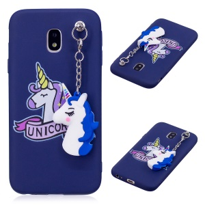 Unicorn Pattern Printing TPU Cover with Unicorn Pendant for Samsung Galaxy J3 (2017) EU Version / J3 Pro (2017) - Blue