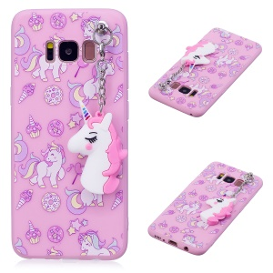 Unicorn Patterned TPU Mobile Cover for Samsung Galaxy S8 G950 with Unicorn Pendant - Pink