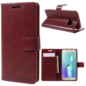MERCURY GOOSPERY Blue Moon Magnetic Leather Cover for Samsung Galaxy S6 Edge G925 - Wine Red