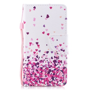 Pattern Printing Leather Wallet Cellphone Casing for Samsung Galaxy J7 Pro (2017) / J7 (2017) EU Version - Colorful Hearts