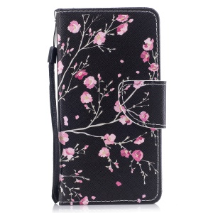 For Samsung Galaxy J5 (2017) EU Version / J5 Pro (2017) Pattern Printing Leather Flip Stand Casing - Plum Blossom