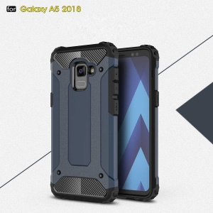 Armor Guard Plastic + TPU Hybrid Mobile Phone Shell for Samsung Galaxy A8 (2018) - Dark Blue