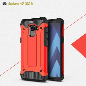 Guard Plastic + TPU Armor Combo Mobile Case for Samsung Galaxy A8+ (2018) - Red