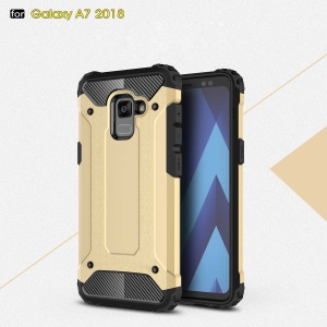 Armor Guard Plastic + TPU Back Protective Shell for Samsung Galaxy A8+ (2018) - Gold