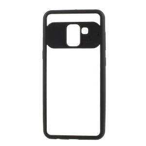 For Samsung Galaxy A8 (2018) Silicone Frame + Transparent Acrylic Combo Phone Casing - Black