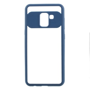 For Samsung Galaxy A8 (2018) Silicone Frame + Transparent Acrylic Combo Phone Shell - Blue