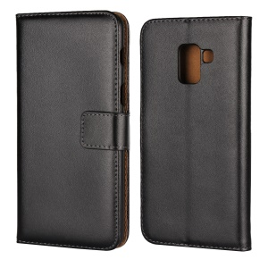 Crazy Horse Genuine Leather Magnetic Wallet Case for Samsung Galaxy A8 (2018) - Black