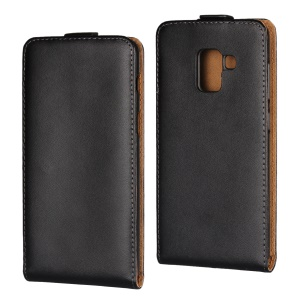 Split Leather Vertical Flip Phone Protective Casing for Samsung Galaxy A8 (2018) - Black