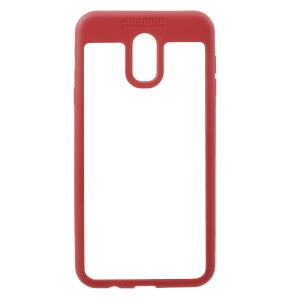Transparent Acrylic Back + TPU Frame Hybrid Back Cover for Samsung Galaxy J7 Plus / C8 - Red