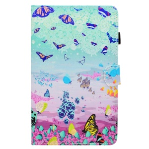 Patterned Leather Card Slots Tablet Cover for Samsung Galaxy Tab A 8.0 (2017) T385/T380 - Colorful Butterflies