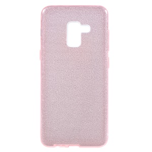 For Samsung Galaxy A8 Plus (2018) 3-in-1 Glittery Powder Paper TPU + PC Phone Case Cover - Pink