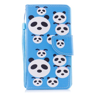 Pattern Printing Phone Leather Wallet Stand Case for Samsung Galaxy A5 (2017) A520 - Panda Pattern