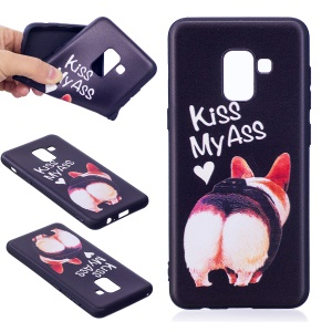 Embossment Pattern TPU Cover for Samsung Galaxy A8 (2018) - Kiss My Ass
