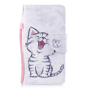 Pattern Printing Wallet Stand Leather Mobile Casing for Samsung Galaxy S8 G950 - Laughing Cat