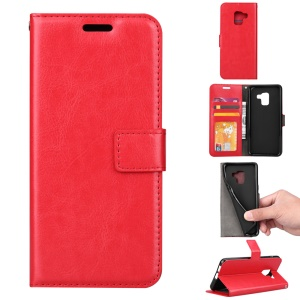 BTRCASE Crazy Horse Wallet Leather Magnetic Case for Samsung Galaxy A8 (2018) - Red