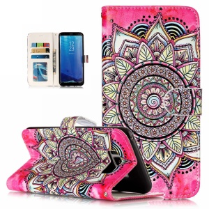 Patterned Embossed Leather Stand Mobile Casing for Samsung Galaxy S8 G950 - Mandala Flower
