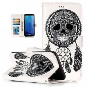 Pattern Printing Embossed Leather Wallet Shell Case for Samsung Galaxy S8+ Plus SM-G955 - Dream Catcher