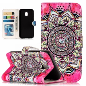 Patterned Embossed Leather Stand Protection Case for Samsung Galaxy J3 Pro (2017) / J3 (2017) EU Version - Mandala Flower