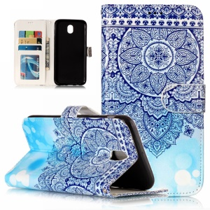 Pattern Printing Embossed Wallet Leather Shell Case for Samsung Galaxy J5 Pro (2017) / J5 (2017) EU Version - Blue Flower