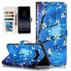 Pattern Printing Embossed Wallet Leather Stand Case for Samsung Galaxy Note 8 SM-N950 - Tree with Flowers