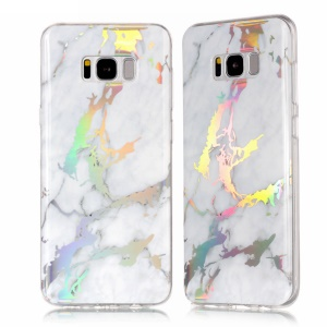 Marble Pattern Electroplating TPU Slim Cover for Samsung Galaxy S8 G950 - White