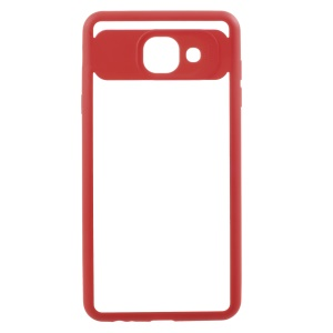 Silicone Frame + Transparent Acrylic Combo Mobile Case for Samsung Galaxy J7 Max EU Version - Red