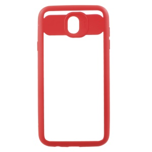 Silicone Frame + Transparent Acrylic Combo Mobile Case for Samsung Galaxy J7 Pro (2017) / J7 (2017) EU Version - Red