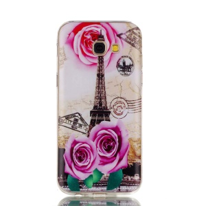 Ultra Thin Patterned Soft TPU Case for Samsung Galaxy A5 (2017) SM-A520 - Rose and Eiffel Tower