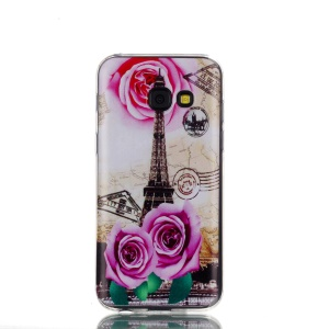 Ultra Thin Patterned Soft TPU Protective Mobile Shell for Samsung Galaxy A3 (2017) - Rose and Eiffel Tower