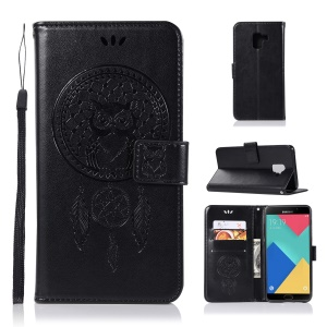 Imprint Dream Catcher Owl PU Leather Wallet Stand Case for Samsung Galaxy A8 (2018) - Black