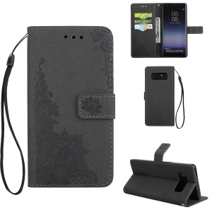 Glittery Powder Peacock Flowers Imprinted Leather Wallet Stand Case for Samsung Galaxy Note 8 SM-N950 - Black