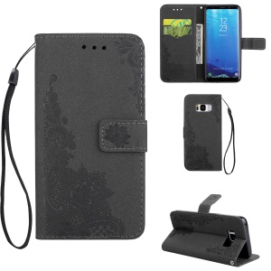 Imprint Flower Pattern PU Leather Wallet Stand Case for Samsung Galaxy S8 G950 - Black